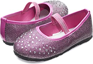 Sara Z Kids Toddlers Girls Glitter Mesh Ballet Flat Slip On Shoes with  Rhinestones and Elastic 8103ba21a485