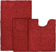 BYSURE 3 Piece Bathroom Rug Set Red Extra Absorbent Shaggy Chenille Bath Mats Set, Soft & Dry Bath Rugs Set for Bathroom N...