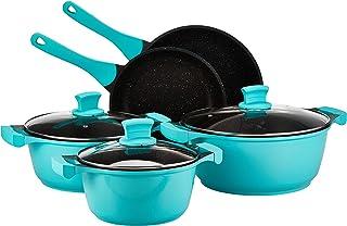 Winsor 11 Pc Cast Aluminum Non Stick Granite Cookware Set, Turquoise WR6013