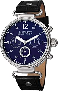 August Steiner Men's Multifunction Dress Watch - Silver Case around Blue Dial with 24 Hour, Day of Week, and Date Subdial ...