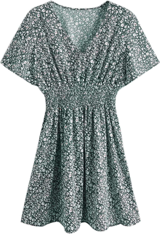 Floerns Women's Plus Size Summer Floral V Neck Short Sleeve A Line Mini Dress