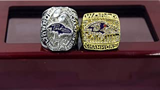 2PCs 2000 2012 Baltimore Ravens Super Bowl Championship Rings Set Replica Fan Men Gift
