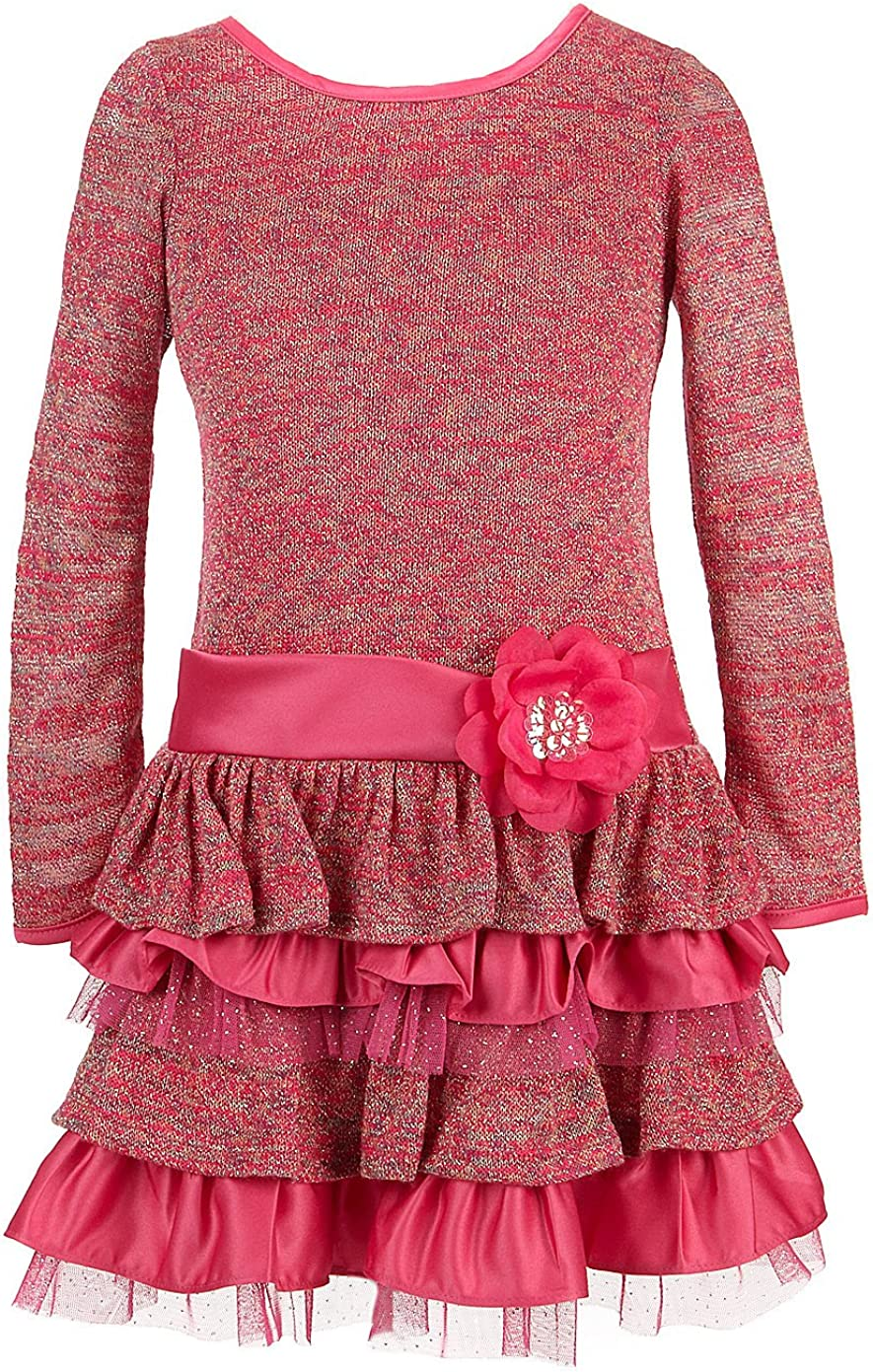 Bonnie Jean Girls Dresses Fuchsia Sparkle Knit Tiered Dress 4