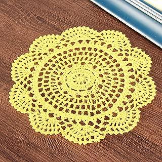 Vanyear Round Crochet Lace Doily Floral Design Fabric Coasters Doilies Value Pack, 4pcs/Set Yellow Lace Doilies