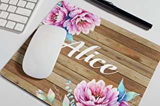 Personalized Floral Name Mouse Pad Wood Peonies Flowers Mousepad Womens Desk Accessories Office Supplies Gift for Coworker A299