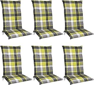 Beautissu Set de 6 Cojines para sillas de Exterior y jardín con Respaldo Alto Sunny GR Verde 120x50x6 cm tumbonas, mecedoras, Asientos cómodo Acolchado Resistente a Rayos UV