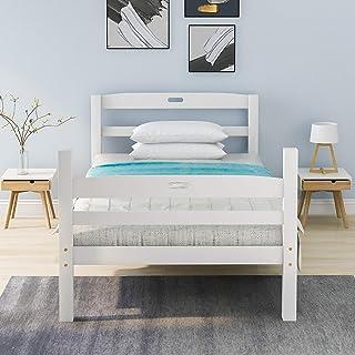 Lit simple en bois massif avec sommier à lattes, tête de lit avec poignée, pour enfants, adolescents et adultes, blanc (20...