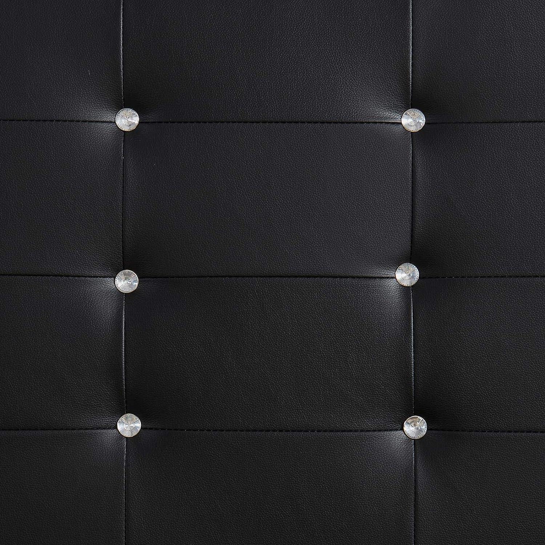 CARO-M/öbel Polsterbett Newcastle 120 x 200 cm Bettgestell Einzelbett Designbett Lederimitat schwarz inklusive Lattenrost