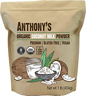 Anthony's Organic Coconut Milk Powder, 1lb, Gluten Free, Vegan & Dairy Free, All Natural Creamer, Keto Friendly