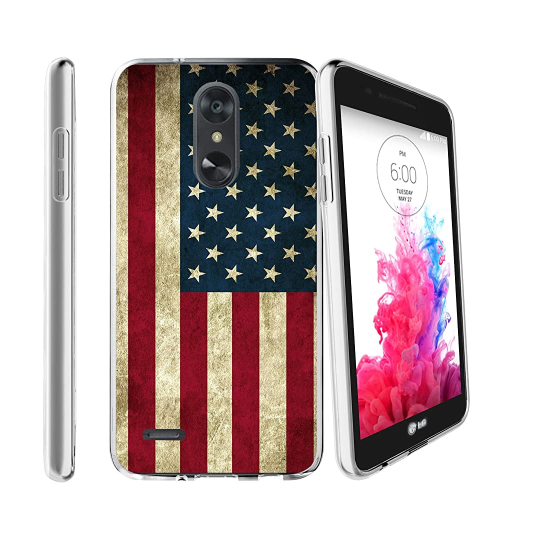 Clear MINITURTLE Case Compatible with LG Aristo 2 / Rebel 3 / Tribute Dynasty / K8 Plus/Zone 4 (LGX210) [Flex Force Clear Case Series][Ultra-Slim][Flexible] - American Flag USA