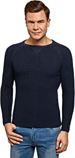 oodji Ultra Hombre Jersey de Algodón con Cuello Redondo