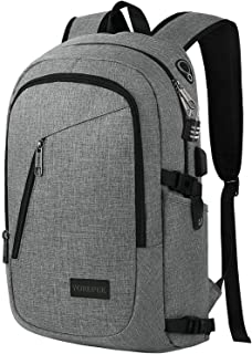 College Backpack, Laptop Backpack with USB Charging Port Headphone Interface, Anti-Theft Travel Business Backpacks Water Resistant School Bookbag for Women Men Fits 15.6 Inch Laptop(Gray)