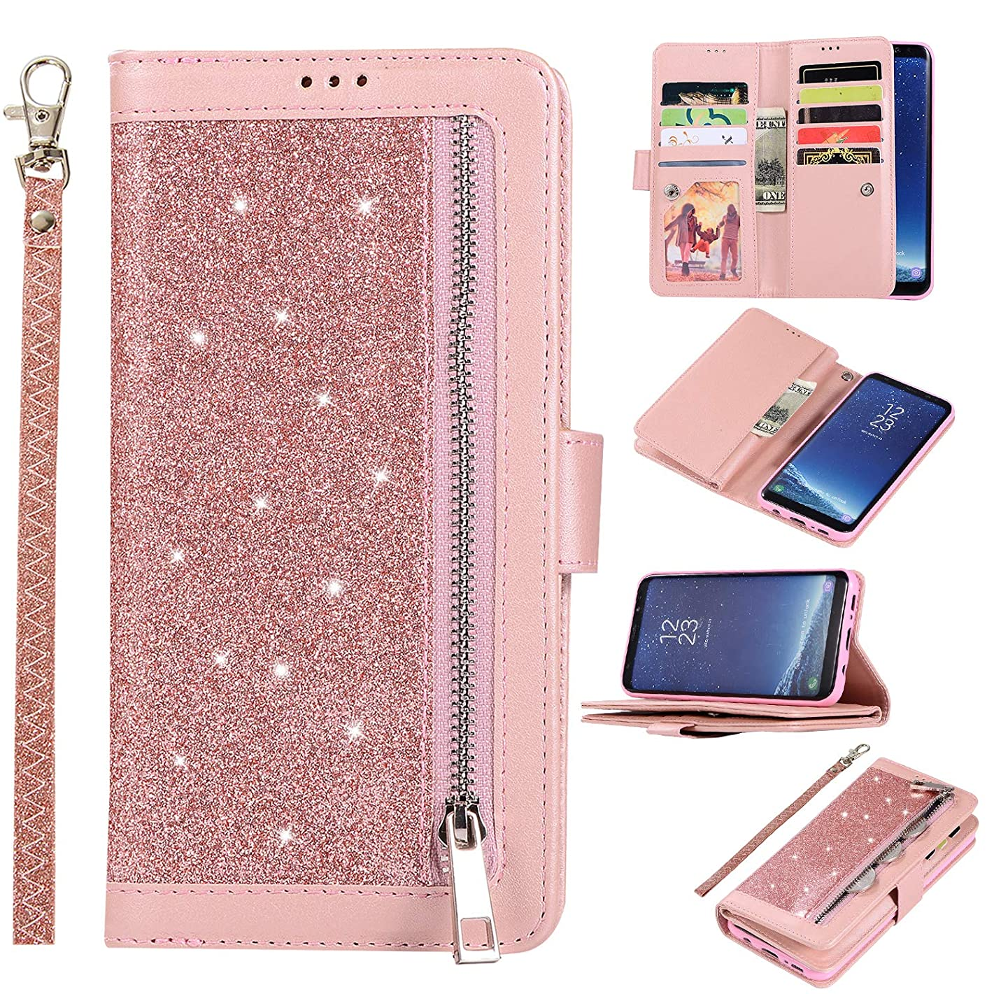 Shinyzone Glitter PU Case for Samsung Galaxy S8,Wallet Leather Flip Case with Zipper Pocket,Bling Cover with 9 Card Holder and Wrist Strap Magnetic Stand Function,Rose Gold