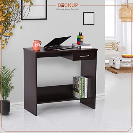 Deckup Siena Engineered Wood Study Table and Office Desk (Dark Wenge, Matte Finish)