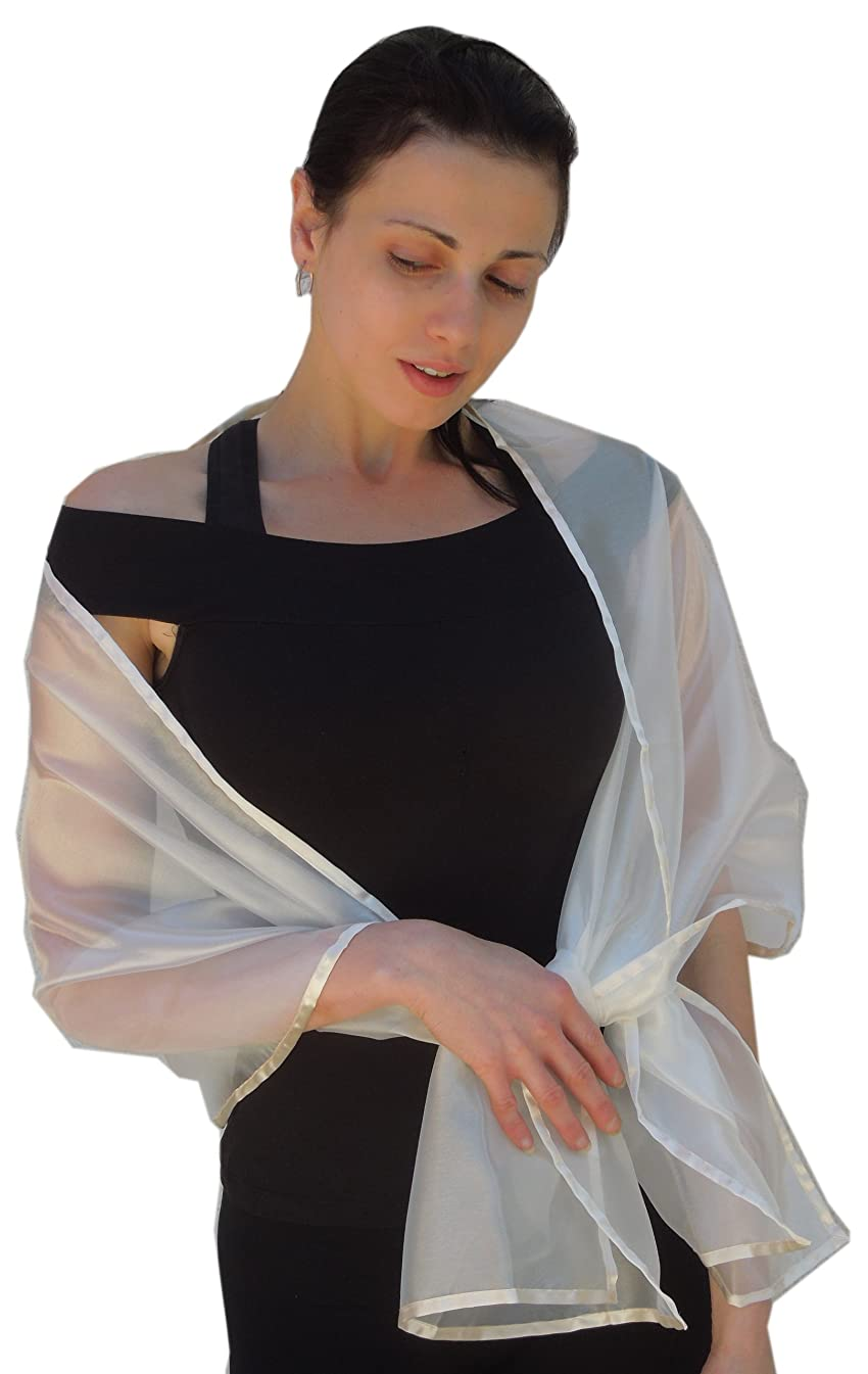 Sheer Ivory Organza Evening Wrap Shawl for Prom Wedding Bride