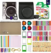 Fujifilm Instax Mini 90 Neo Classic Instant Film Camera (Black) with 40 Instant Film + MiniMate Accessory Bundle. PU Leather Case, Frames, Retro Photo Album, Selfie Lens, Colored Filters and More