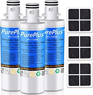 PUREPLUS MDJ64844601 Refrigerator Water Filter, Compatible with LG LT1000P, LT1000, LT1000PC, 9980, ADQ747935, ADQ74793501, ADQ74793502, LMXS30796S, LMXC23796S and LG LT120F Air Filter Combo, 3-Pack