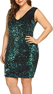 IN'VOLAND Womens Sequin Dress Plus Size Sexy V Neck Party Cocktail Bodycon Formal Glitter Sleeveless Mini Dresses