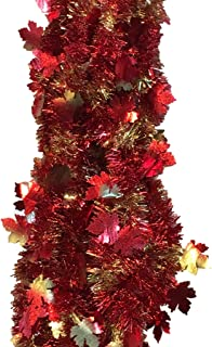 nygala corp Fall Leaf Garland - Thanksgiving Tinsel Garland Maple Leaves - 18 Feet Autumn Colors (Maple Leaves Iridescent)