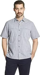 Men's Crosshatch Short Sleeve Button Down Solid Shirt