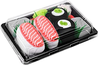SUSHI SOCKS BOX - 2 pairs Salmon Nigiri Cucumber Maki - Funny GIFT! Original Pattern, COTTON RICH Socks