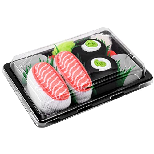 Sushi Socks Box - 2 pares de CALCETINES: Nigiri Salmón Maki de Pepino - REGALO