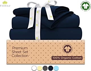 500-Thread-Count Organic Cotton Bed Sheets-Set - 500TC California King Size Navy Blue - 4 Piece Bedding - 100% GOTS Certified Extra Long Staple, Soft Sateen Bedsheets - Fits 15