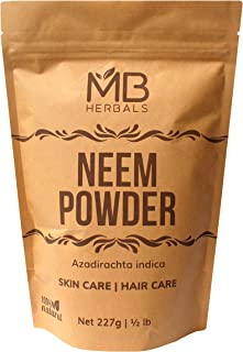MB Herbals Pure Neem Powder 454 Gram | 1 lb | 16 Oz | Pure Wild Crafted Neem Leaf Powder | Very Bitter Neem Supplement for...