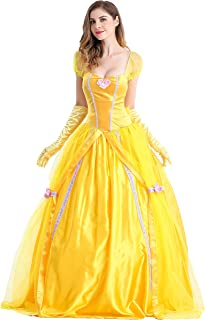 Princess Beauty Costume for Women, Girl Princess Belle Dress up Ball Gown, Halloween Costume Adult
