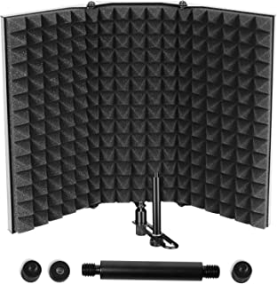 Microphone Isolation Shield, Professional Studio Recording Equipment for Sound Booth, High Density Absorbing Foam Front & Vented Metal Back Plate to Filter vocal, Suitable for Blue Yeti and Other Mic