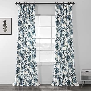 Half Price Drapes PRTW-D40-84 Indonesian Printed Cotton Twill Curtain, Blue