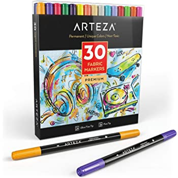 Arteza Fabric Pens for T-Shirts, 30 Assorted Colours, Permanent & Machine Washable, Textile Fabric Markers for Colouring Jeans, Sweaters, Sneakers, Backpacks, Jackets & More