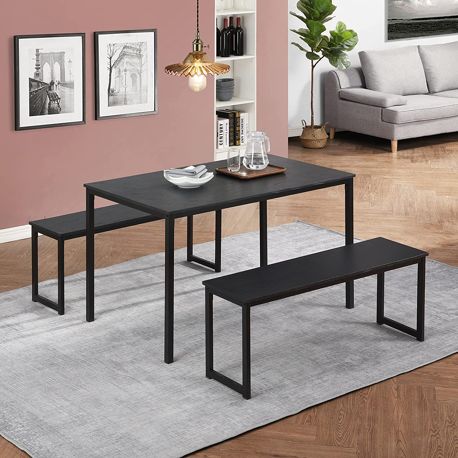 Betos 3 Piece Dining Max 53% OFF Outlet SALE Set Kitchen Table Benches with