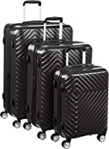 AmazonBasics Geometric Luggage - 3 piece Set (55cm, 68cm, 78cm), Black