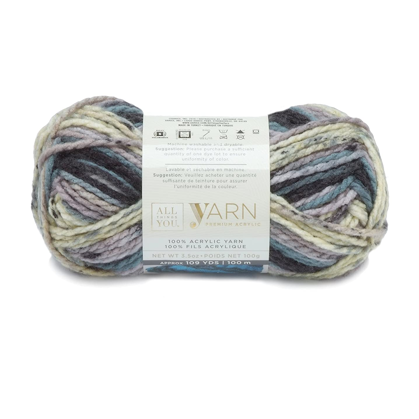 Darice All Things You, Premium Acylic Yarn, Stormy