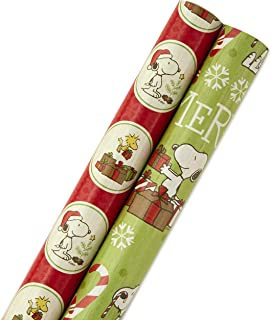 Hallmark Peanuts Holiday Wrapping Paper Bundle with Cut Lines on Reverse, Snoopy and Woodstock (Pack of 2, 100 sq. ft. ttl.)