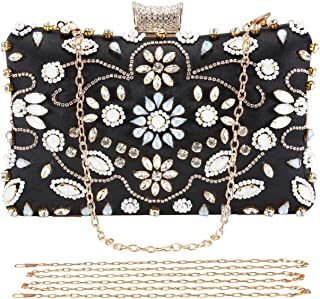 Crystal Beaded Clutch Evening Bags for Women Formal Bridal Wedding Clutches Purses Prom Cocktail Party Handbags