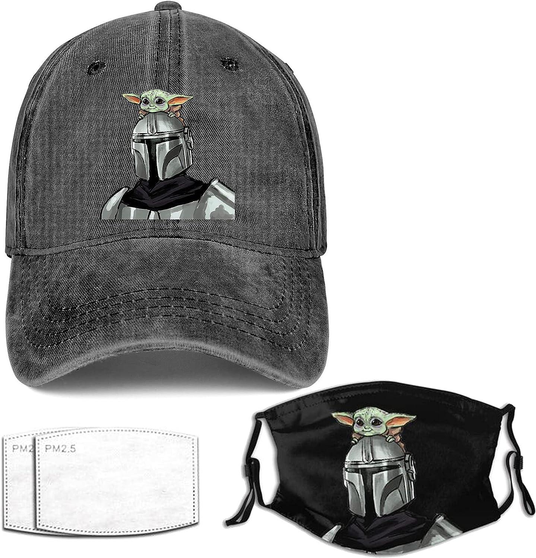 Hat and Mask for Men Women Vintage Dad Denim Baseball Hats