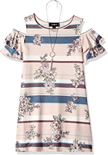 Amy Byer Girls' Big Knit Cold-Shoulder Dress with Necklace,
