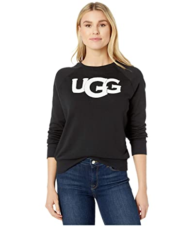 UGG Fuzzy Logo Crew Neck Sweatshirt (Black) Women