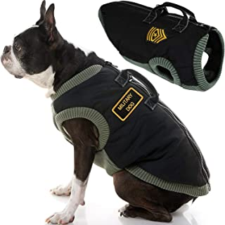 Gooby - Military Vest, Small Dog Jacket Coat Vest with Lift Handle, Black, Large