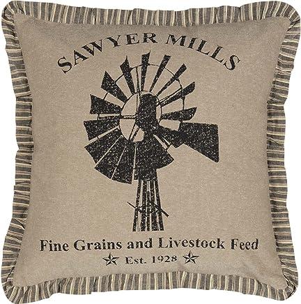 VHC Brands Farmhouse Pillows & Throws - Sawyer Mill Tan Windmill 18 x 18 Pillow One Size Charcoal Khaki