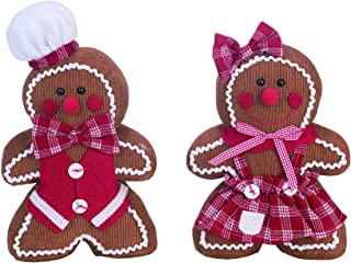 Transpac Standing Gingerbread Brown 13 x 10 Corduroy Fabric Holiday Figurines Set of 2