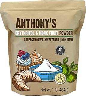 Anthony's Erythritol and Monk Fruit Powder Classic Powder, 1 lb, 2 to 1 Powdered Sugar Substitute, Confectioner's Sweetene...