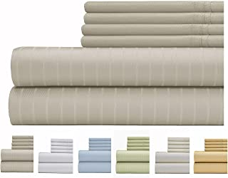 Weavely Sheet Set - 700 Thread Count Cotton-Poly Blend Bed Sheet, Pin Stripe 6 Piece Bedding Set, Hotel Quality Sheet Set with 2 Bonus Pillow Cases, 15 inch Elastic Deep Pocket Fitted Sheet -Full-Grey