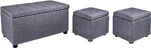 Samincom Ensemble de 3 bancs/bancs de Rangement en Cube H44 x L84 x P45cm, Gris