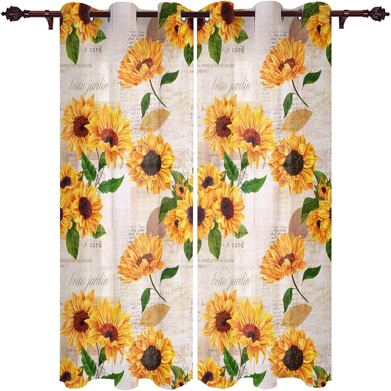 Edwiinsa Kitchen Curtains Window Drapes Blooming Sunf ハイクオリティ 秀逸 Treatment