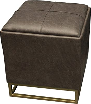 Design Guild Ottoman Beautiful Square Footrest w/Soft, Faux Leather Cover, Thick Padded Cushion, Decorative Gold Metal Plated Feet with Storage, Dark Gray