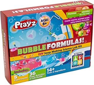 Playz DIY Make Your Own Soap Activity Set w/ Chemical Reactions - Arts & Crafts Science Kit for Kids - Make 12+ Soaps w/ STEM Educational Lab Guide and Ingredients Included for Girls, Boys, and Teens