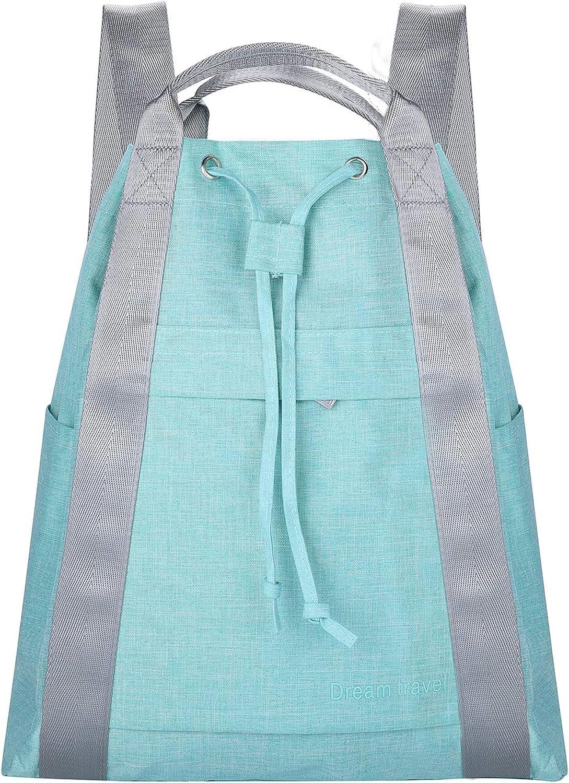 HOKEMP Waterproof Drawstring Bag with Pockets Lightweight Gym Bag Water Resistant Cinch Sack for Gym Shopping Sport Yoga (Light Green)